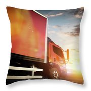 Truck Speeding On The Highway. Transportation Throw Pillow