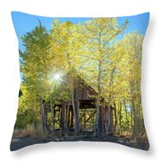 Truckee Shack Near Sunset During Early Autumn With Yellow And Green Leaves On The Trees Throw Pillow