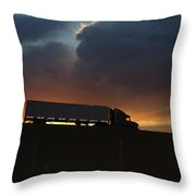 Trucking Along Throw Pillow