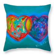 True Blue Hearts Throw Pillow