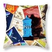 True Blue Postbox Throw Pillow