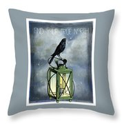 True North Crow Sits On The Night Lantern Throw Pillow