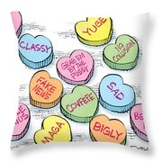 Trump Valentines Candy Uncensored Throw Pillow
