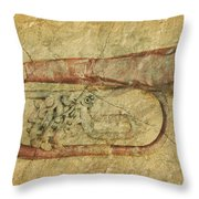 Trumpet In Grunge Style Throw Pillow