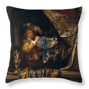 Trumpet Player In Front Of A Banquet 1665 Throw Pillow