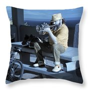 Trumpet Player Playing The Blues Fermin Point Los Angeles In Infrared Throw Pillow