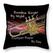 Trumpet Zombie Slayer 002 Throw Pillow