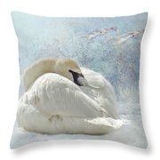 Trumpeter Textures #1 - Swan Feather Throw Pillow by Patti Deters