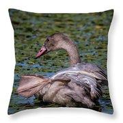Trumpeter Swan Foot Wave Throw Pillow