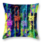 Trumpets Abstract Throw Pillow