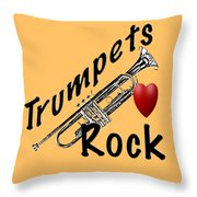Trumpets Rock Throw Pillow