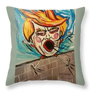 Trumpty Dumpty Falling Off His Imaginary Wall Throw Pillow