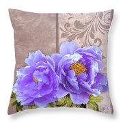 Tryst, Lavender Blue Peonies Still Life Flowers Throw Pillow