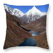 Tsho Phu Lakes And Jichu Drake Throw Pillow