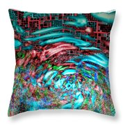 Tsunami Versus Skyscraper Throw Pillow