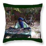 Tuareg Man Selling Jewelry Throw Pillow