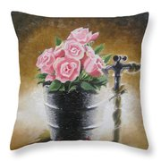 Tub Of Roses Throw Pillow