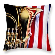 Tuba And American Flag Throw Pillow by Garry Gay