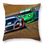 Tudor Audi R8 Races Porsche 911rsr United Sportcar Championship Throw Pillow