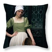 Tudor Woman Outside A Timber Building  Throw Pillow