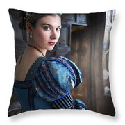 Tudor Woman With Puffed Sleeves And French Hood Facing A Window  Throw Pillow