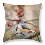 Tufted Titmouse 2 Throw Pillow