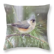 Tufted Titmouse - A Winter Delight Throw Pillow