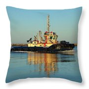 Tug Boat Reflections Throw Pillow