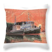 Tug Boats Anchored In Red Sky Throw Pillow