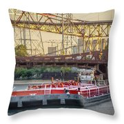 Tug Derek E And Barge On The Calumet River Throw Pillow