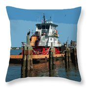 Tug Indian River At Port Canaveral In Florida Usa Throw Pillow