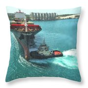 Tugboat At Freeport, Grand Bahamas Harbor Throw Pillow