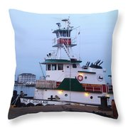 Tugboat At Twilight Throw Pillow