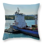 Tugboat Helping Container Ship Out Of Harbor Throw Pillow
