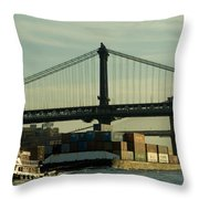 Tugboat Pulling A Barge On The East Throw Pillow