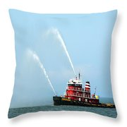 Tugboat's Welcome Salute Throw Pillow