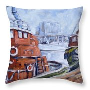 Tugs In Harbour Throw Pillow