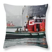 Tugs Maneuvering Ship In The Fog Throw Pillow