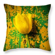 Tulip Against Yellow Green Background Throw Pillow