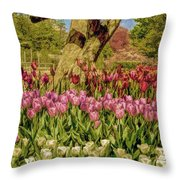 Tulip Bed At Longwood Gardens In Pa Throw Pillow