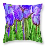 Tulip Bloomies 1 - Purple Throw Pillow