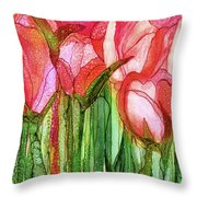 Tulip Bloomies 4 - Red Throw Pillow