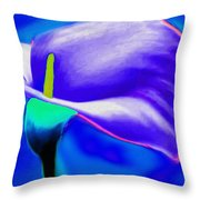 Tulip Blue By Nicholas Nixo Efthimiou Throw Pillow