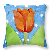 Tulip Blue White Spot Background Throw Pillow