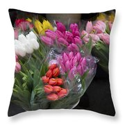 Tulip Bouquets Throw Pillow