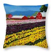Tulip Fields Throw Pillow