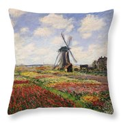Tulip Fields With The Rijnsburg Windmill Throw Pillow