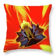 Tulip Flower Floral Art Print Red Yellow Tulips Baslee Troutman Throw Pillow