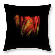 Tulip Flower On Black Background Abstract Throw Pillow