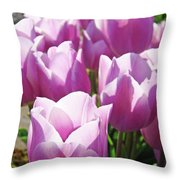 Tulip Garden Flowers Purple Lavender Pastel Art Baslee Troutman Throw Pillow